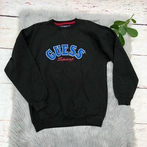 Vintage Guess Sport Black Blue Logo Sweatshirt M